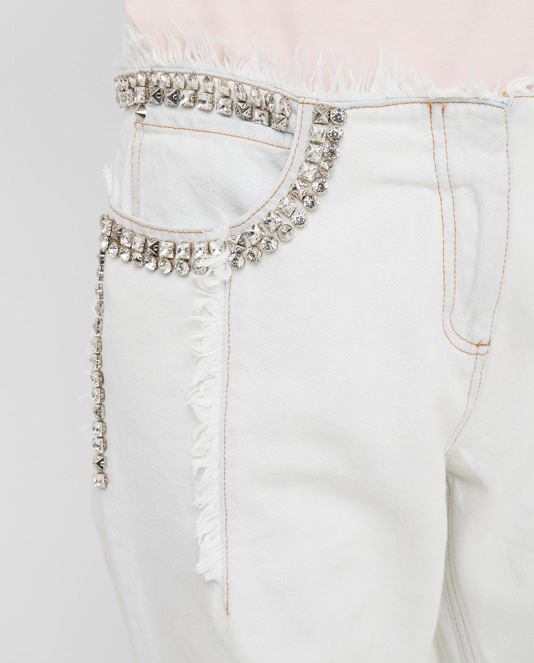 Roberto Cavalli Белые джинсы с кристаллами CKJ211 изображение 5