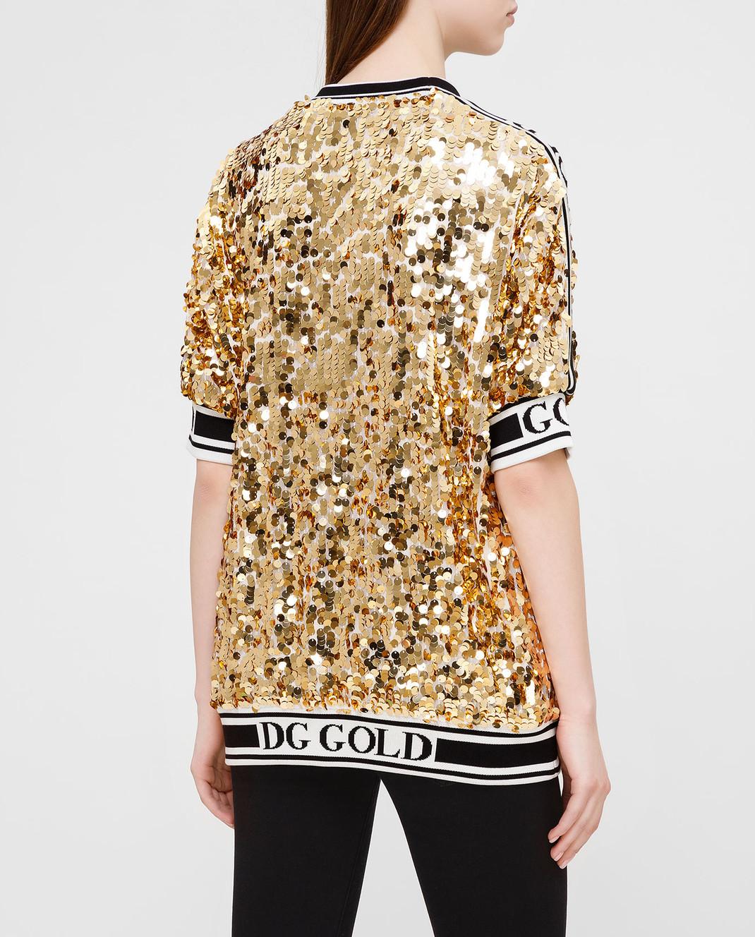Dolce&Gabbana Золотистая футболка изображение 4
