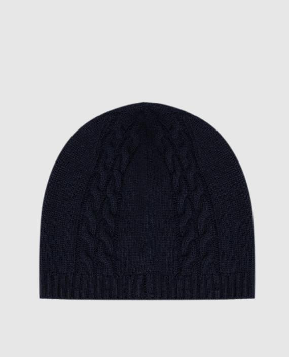 Детская темно-синяя шапка из шерсти hover