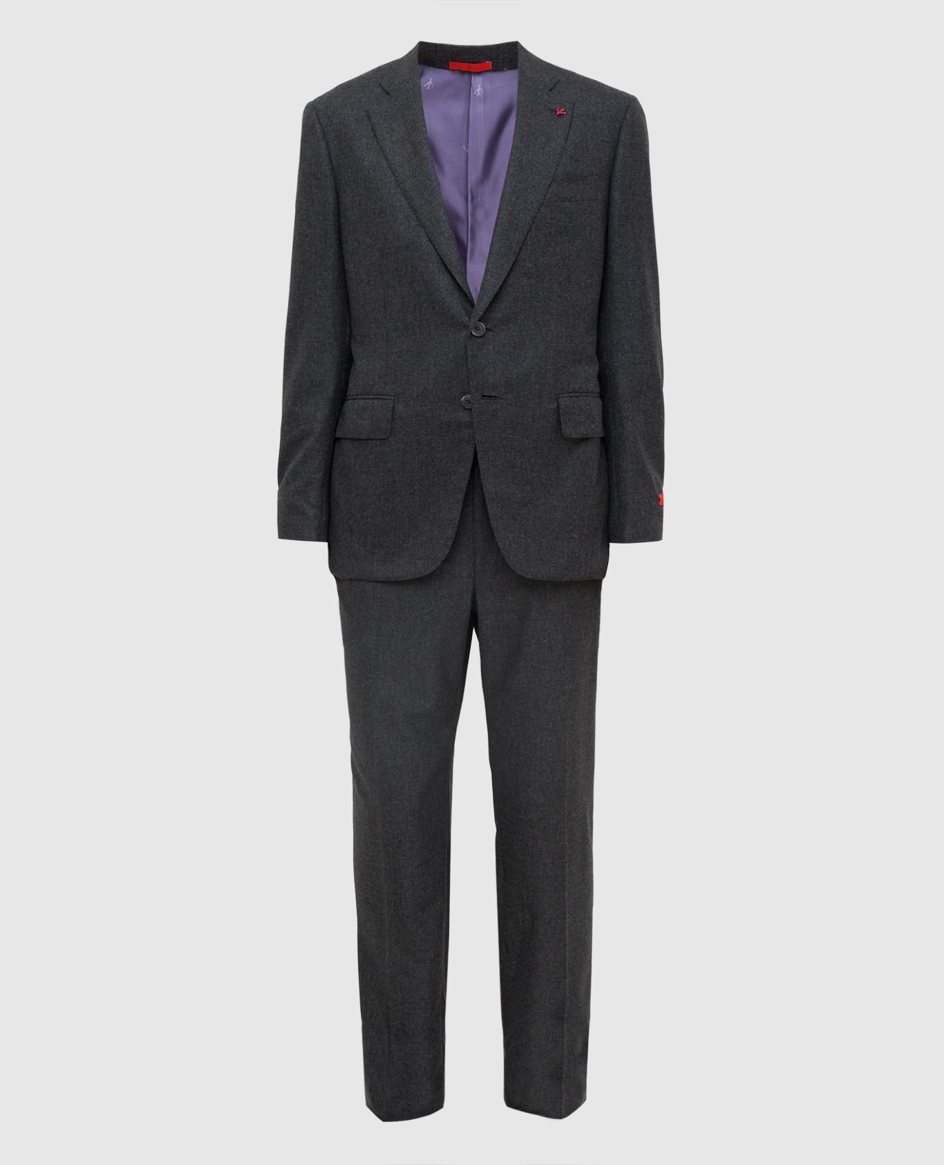 Серый костюм из шерсти и кашемира