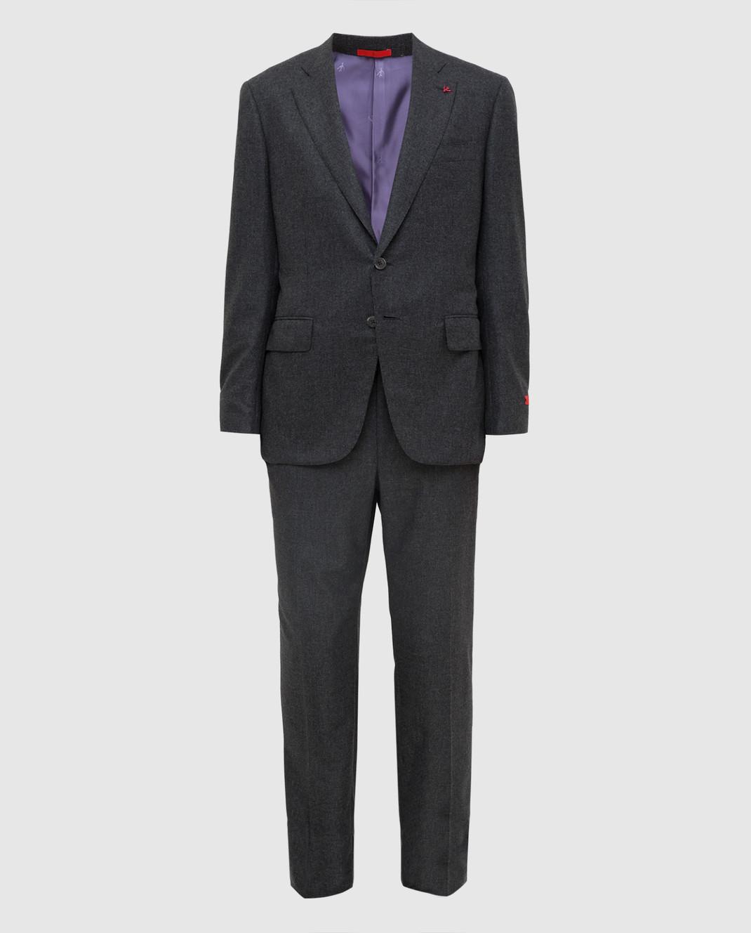 ISAIA Серый костюм из шерсти и кашемира 224ASI89681