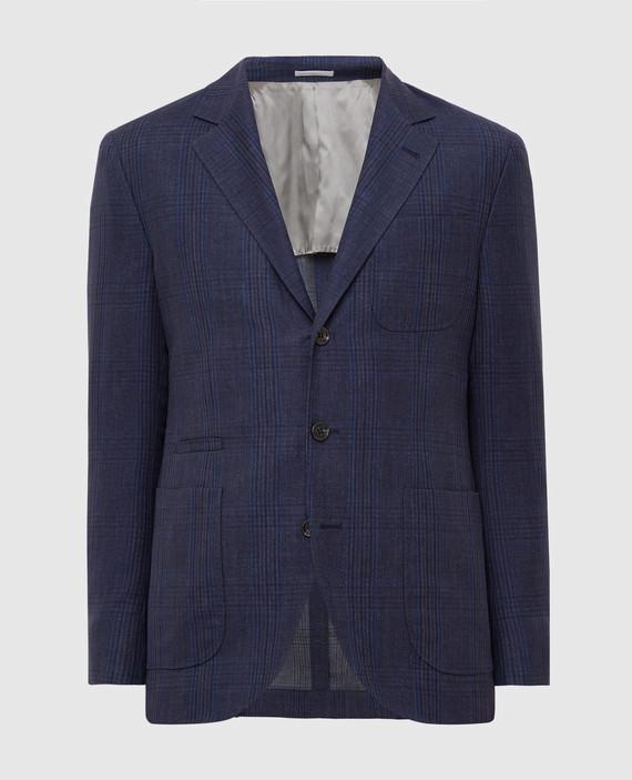 Синий блейзер из льна, шерсти и шелка