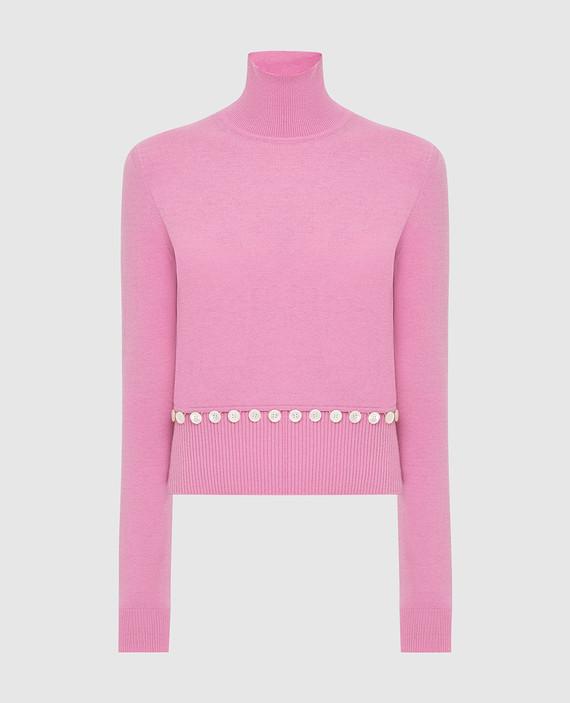 Розовый гольф из шерсти и шелка