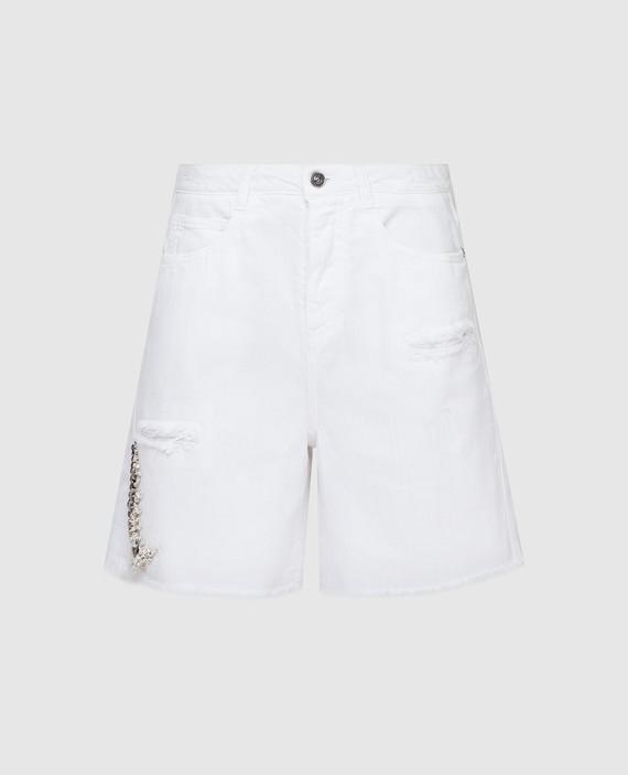 Белые шорты с кристаллами