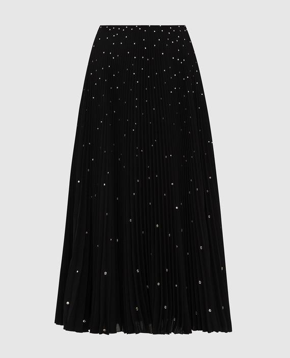 Черная юбка с кристаллами