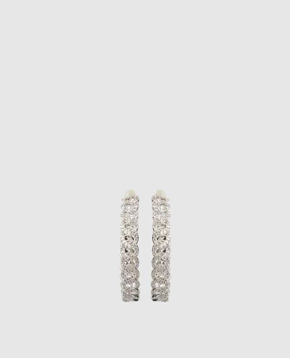Серебристые серьги с кристаллами