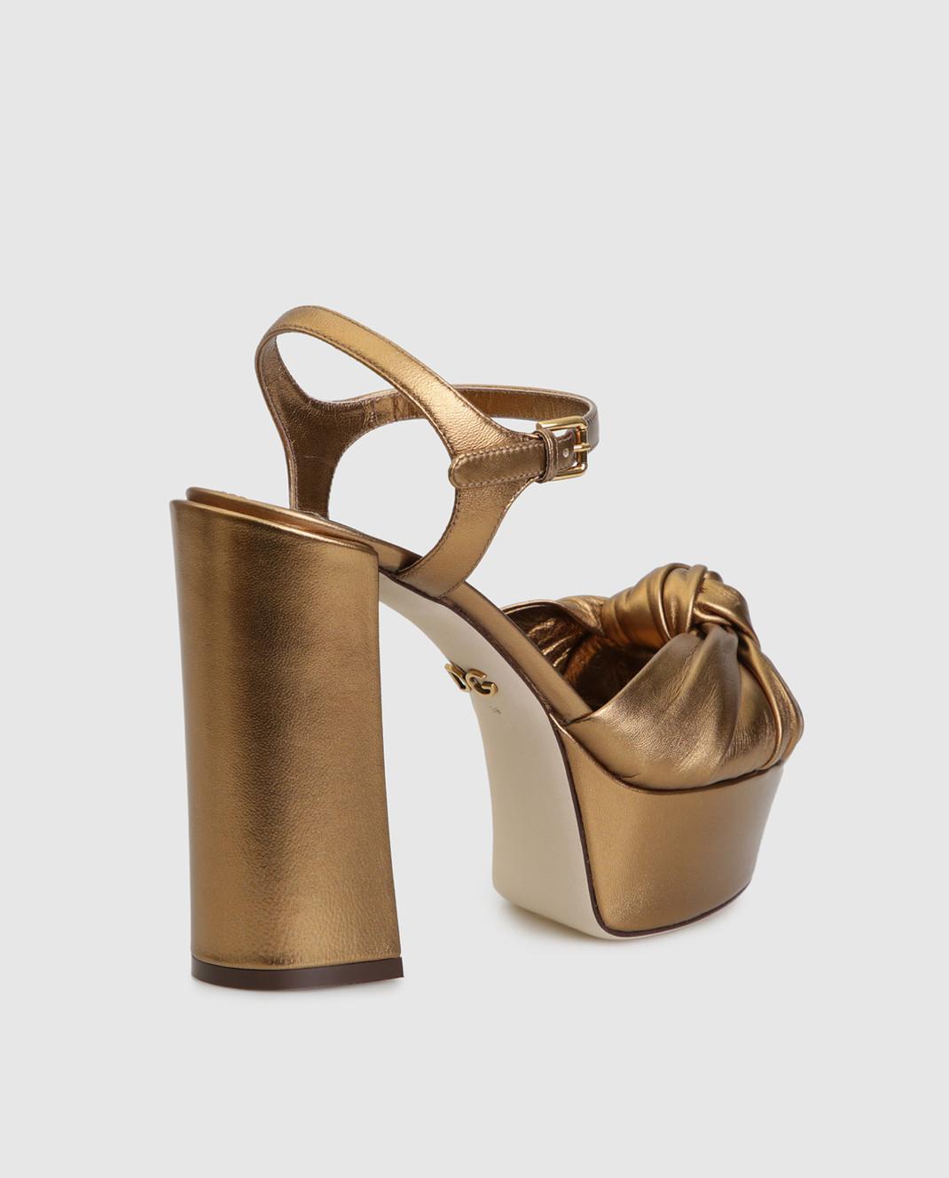 Dolce&Gabbana Золотистые кожаные босоножки CR0695A1016 изображение 4