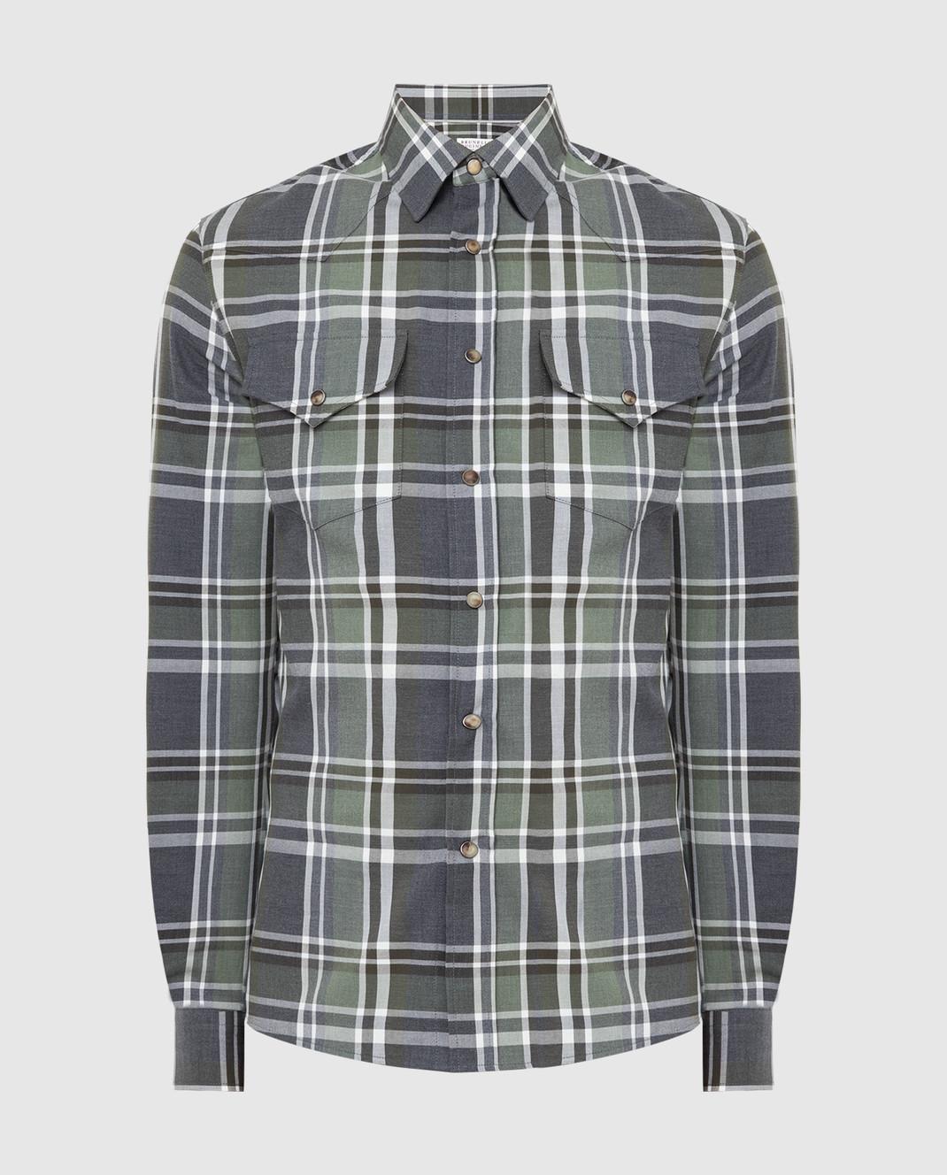 Brunello Cucinelli Зеленая рубашка изображение 1