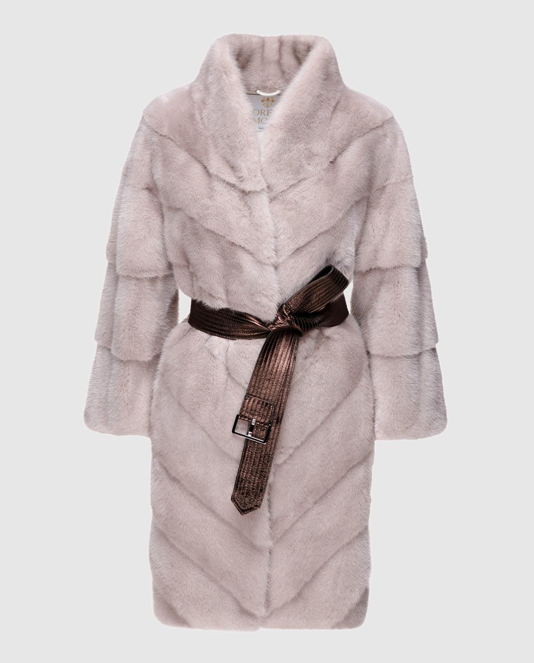 Florence Mode Серая шуба из меха норки с поясом изображение 1