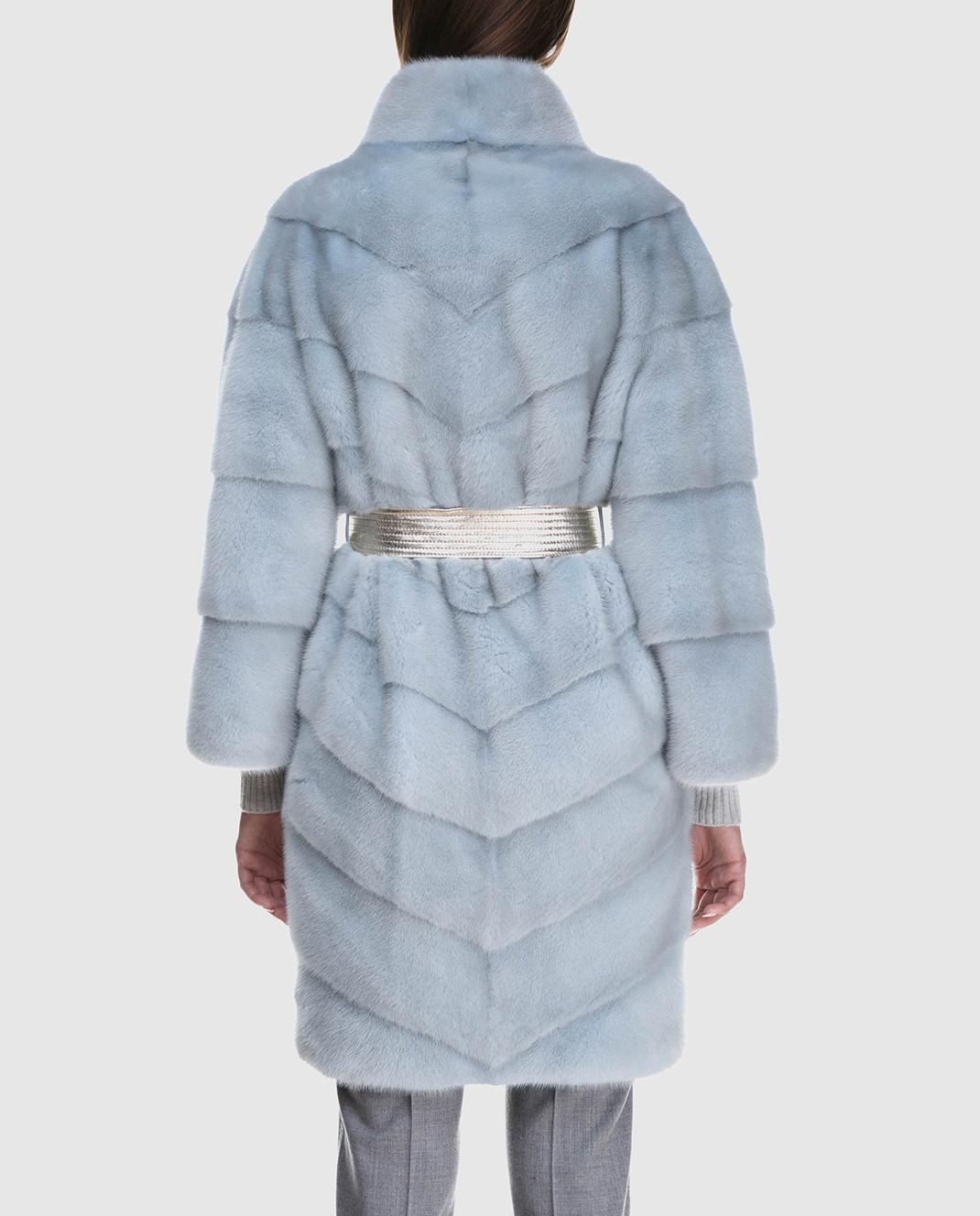 Florence Mode Светло-голубая шуба из меха норки с поясом 18N139PERLA изображение 4