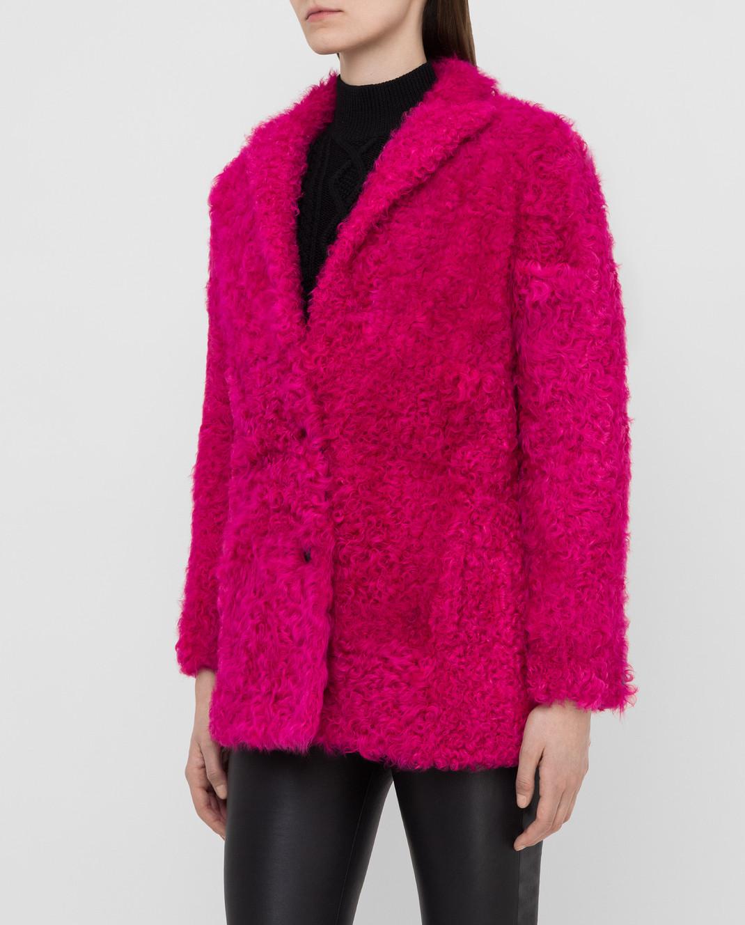Simonetta Ravizza Розовая шуба из меха овцы CARLA3 изображение 3