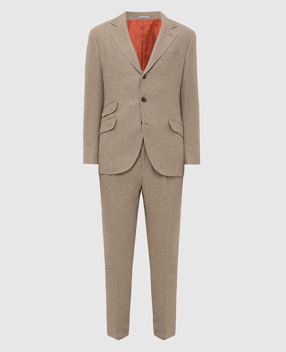 Бежевый костюм из льна, шерсти и шелка