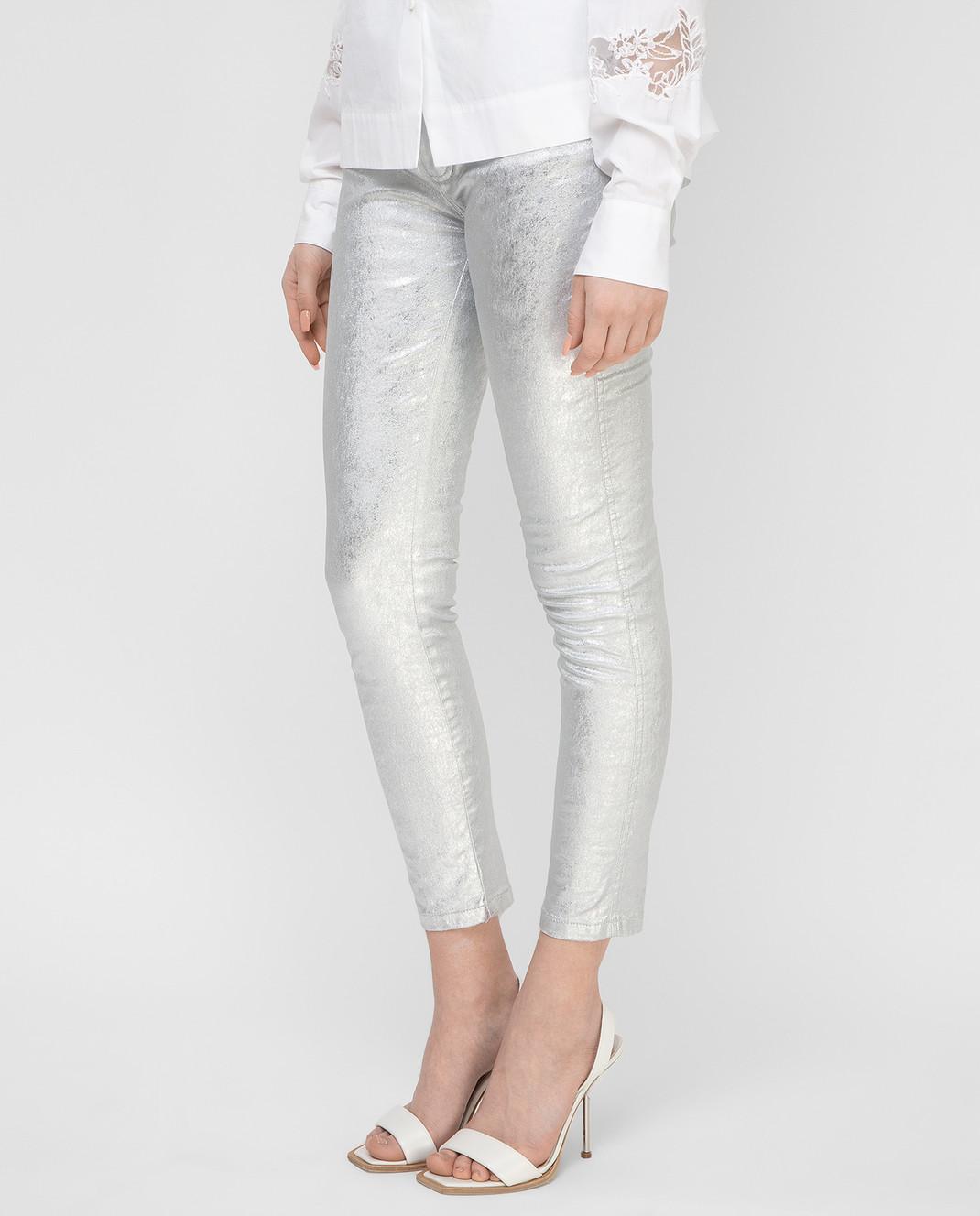 Ermanno Scervino Серебристые джинсы D347P700XFW изображение 3