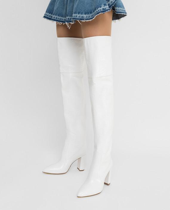 Белые кожаные ботфорты hover