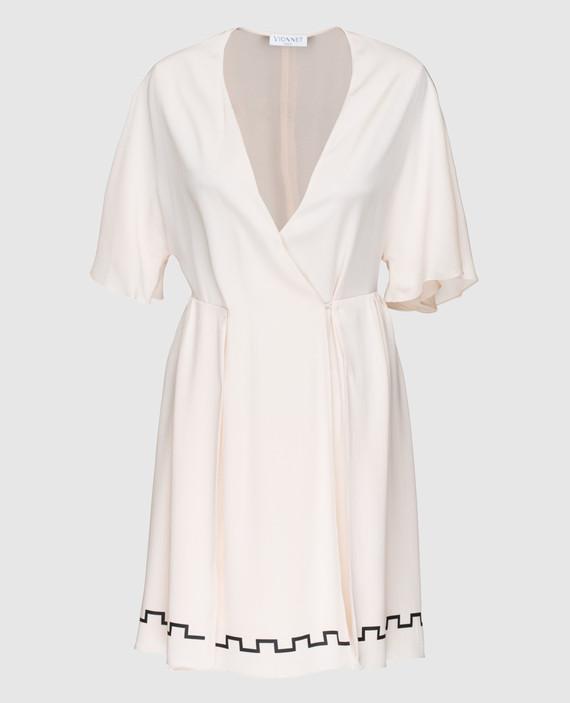 Пудровое платье из шелка