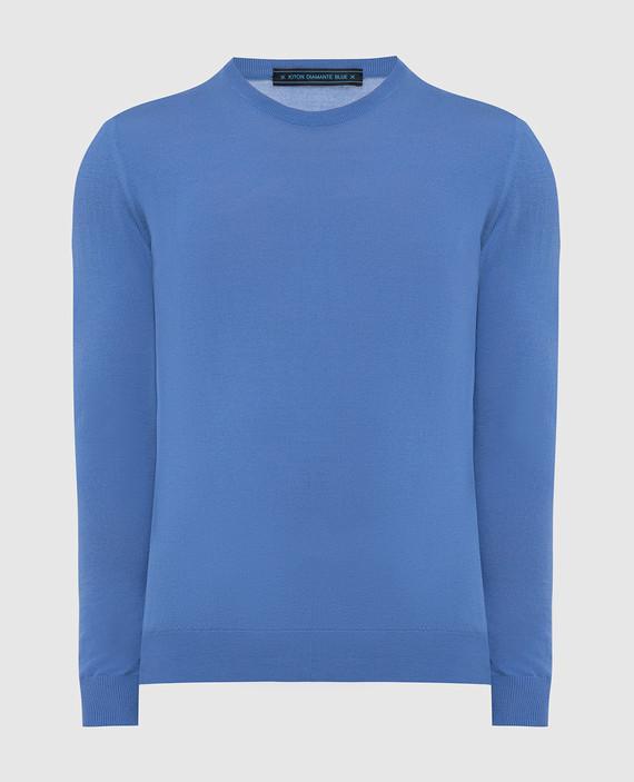 Синий джемпер из шерсти