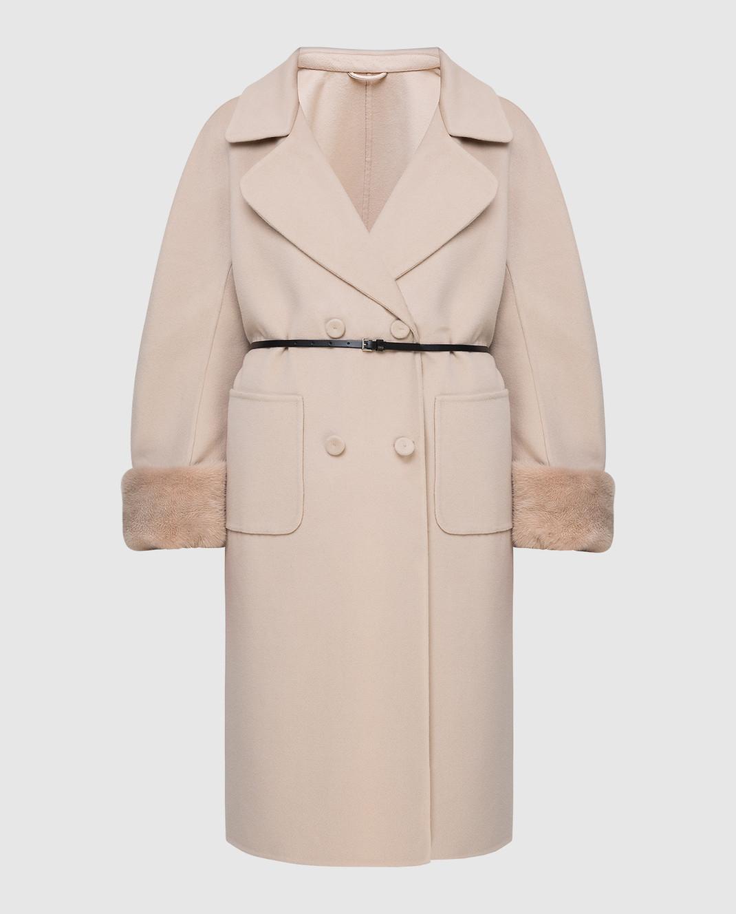 Ermanno Scervino Бежевое пальто из шерсти изображение 1