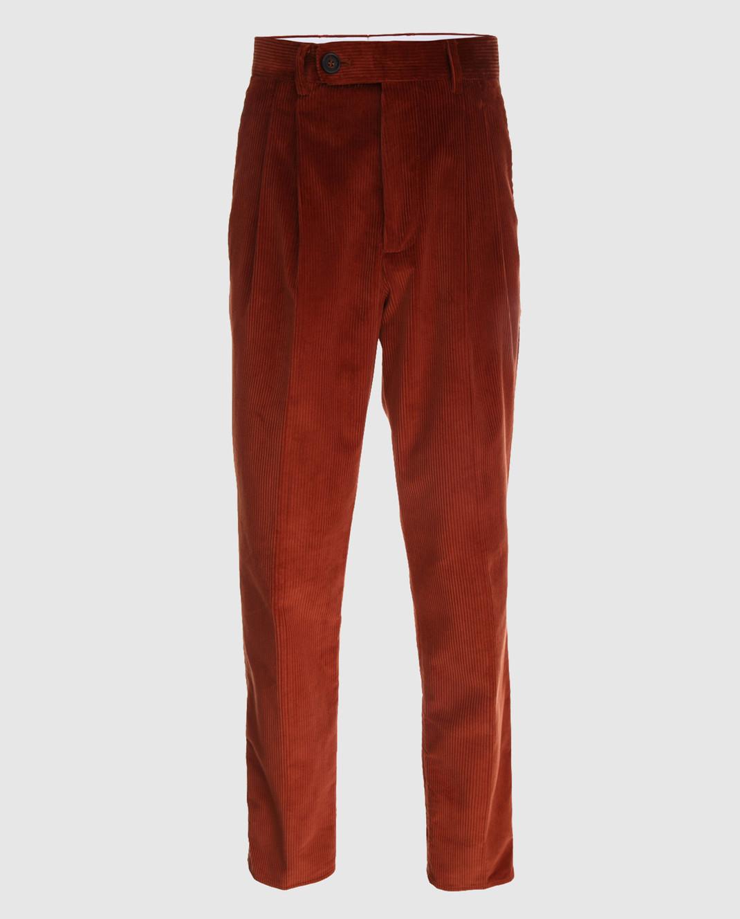 Brunello Cucinelli Терракотовые брюки ME233S2100