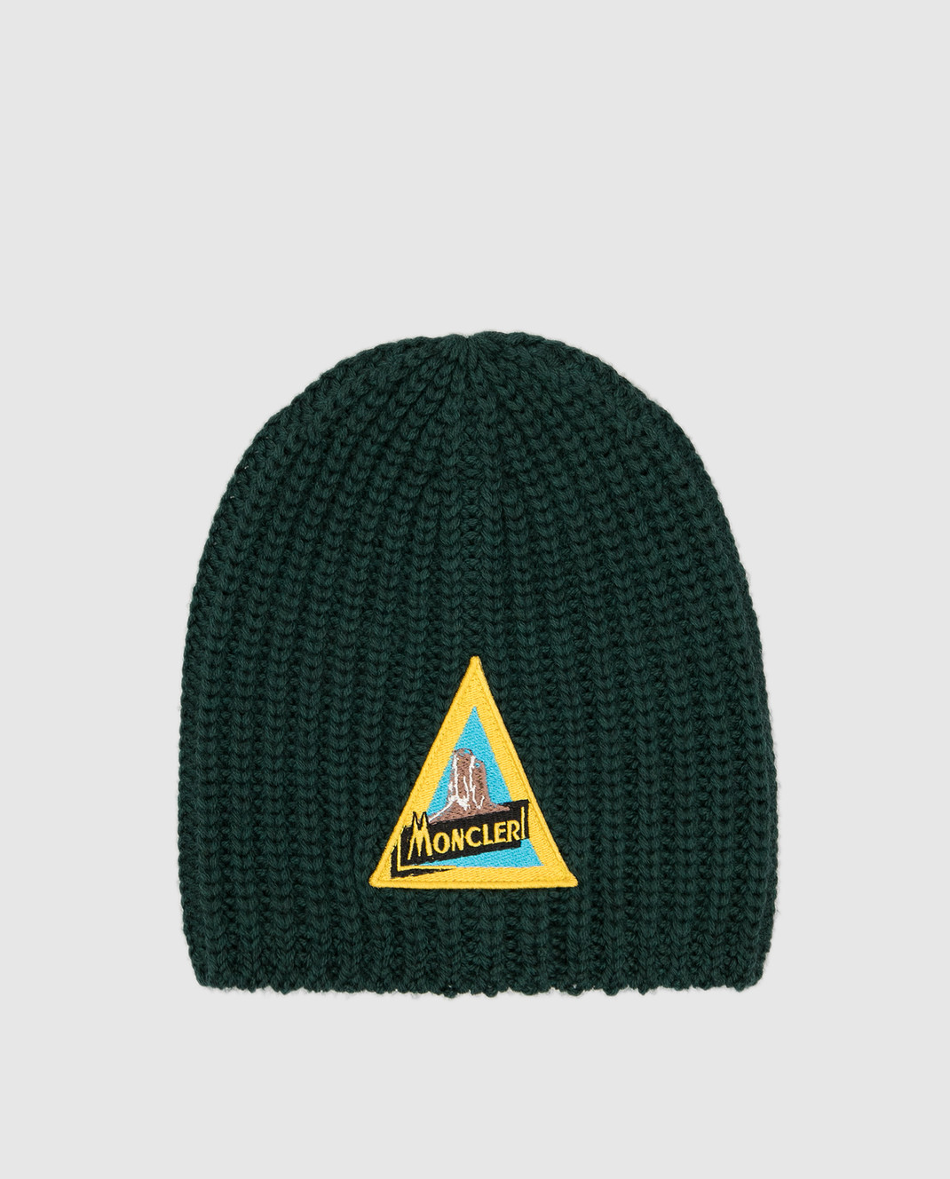 Moncler ENFANT Детская зеленая шапка из шерсти изображение 1