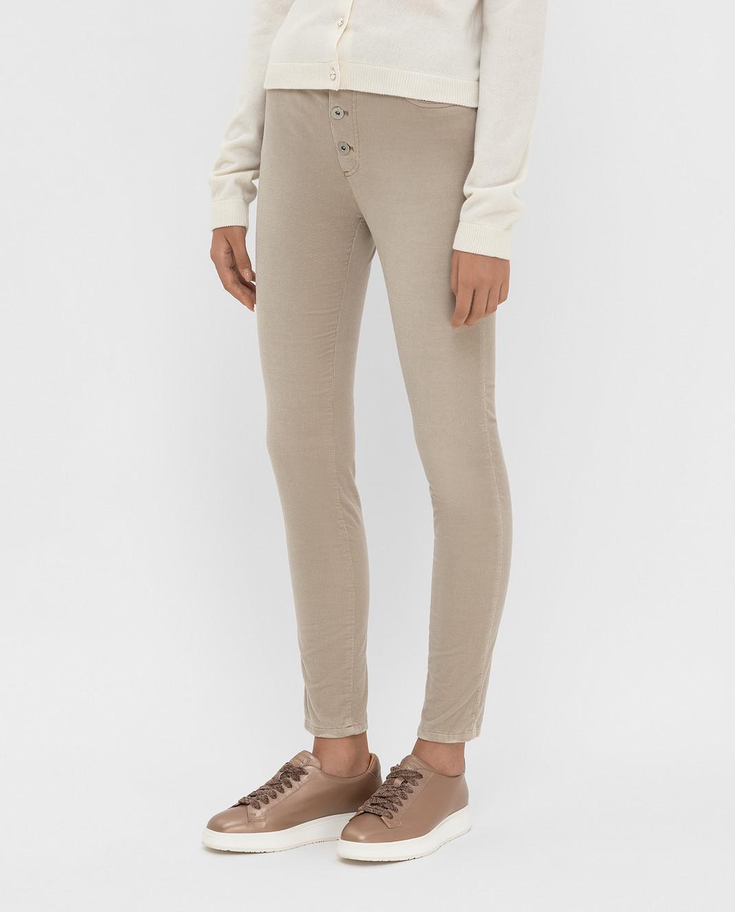 Miu Miu Бежевые вельветовые джинсы изображение 3