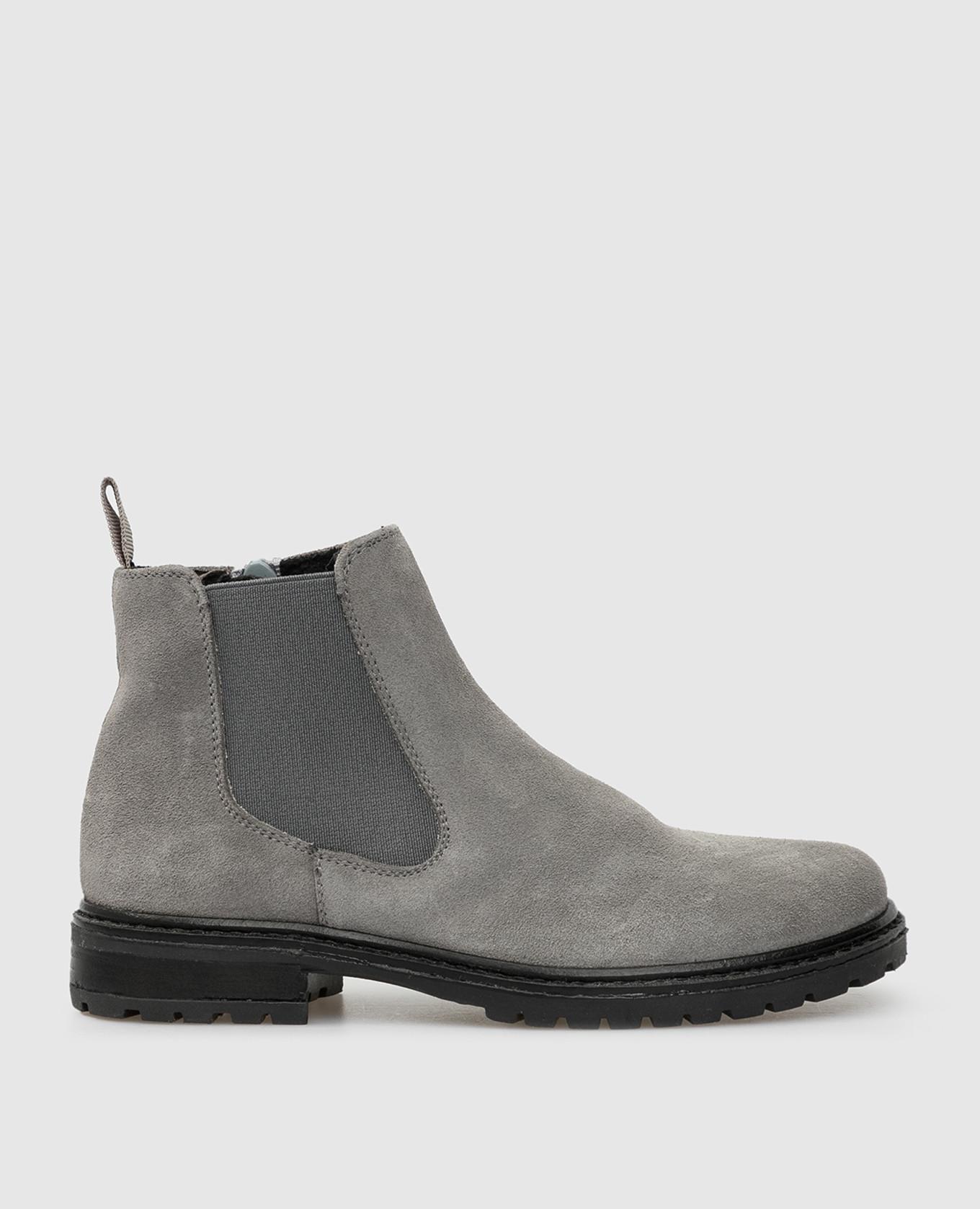 Детские серые замшевые ботинки