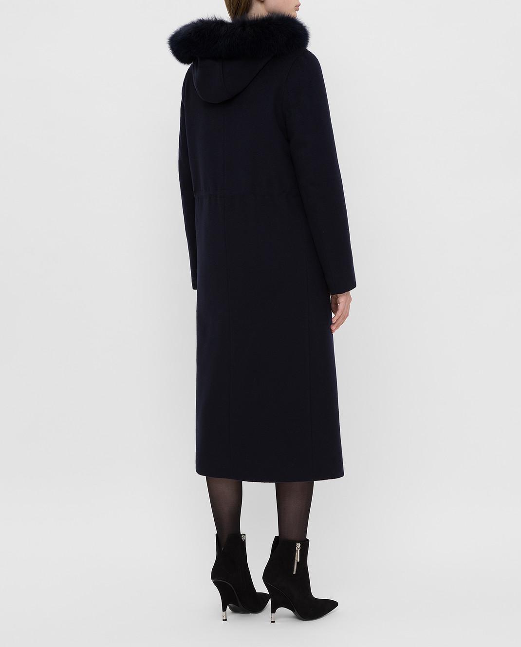 Heresis Темно-синее пальто из шерсти изображение 4