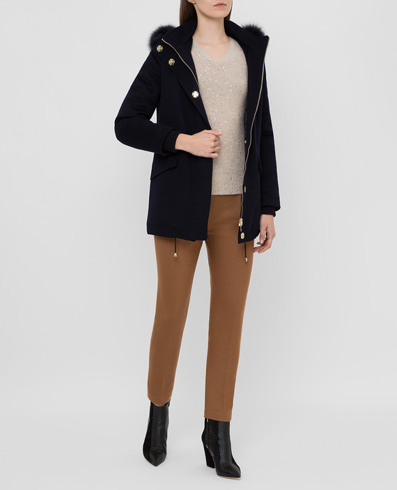 Темно-синее пальто из шерсти hover
