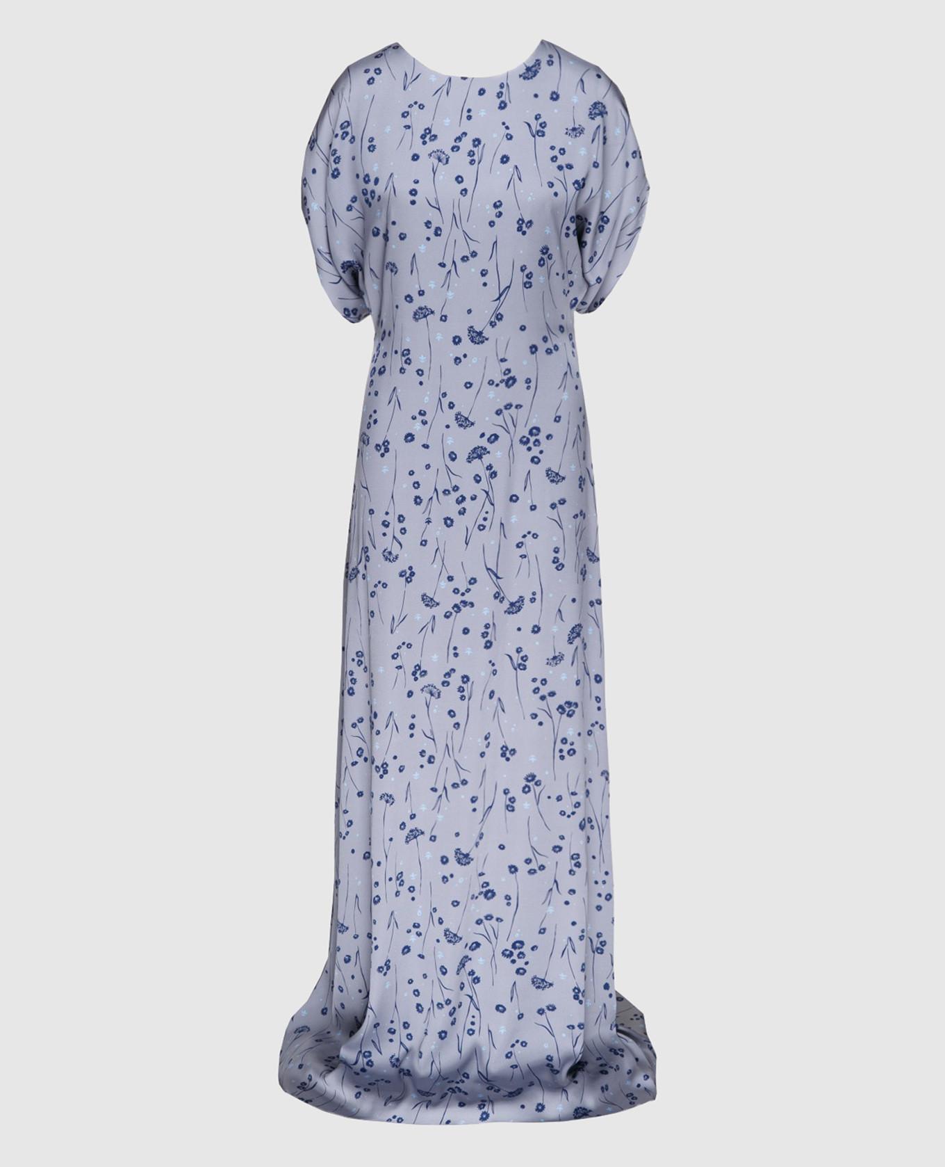 Серое платье из шелка