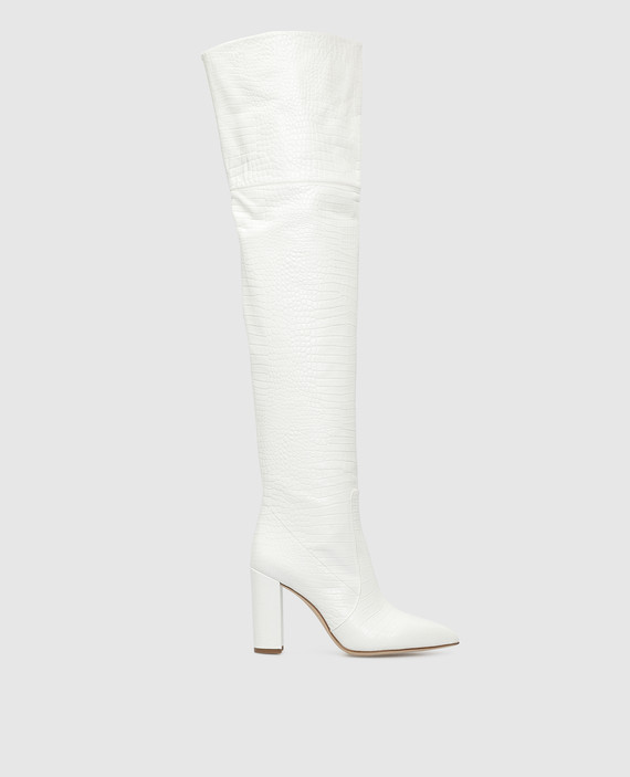 Белые кожаные ботфорты