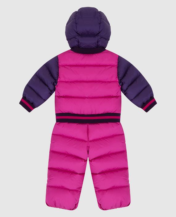 Детский розовый пуховой комбинезон hover