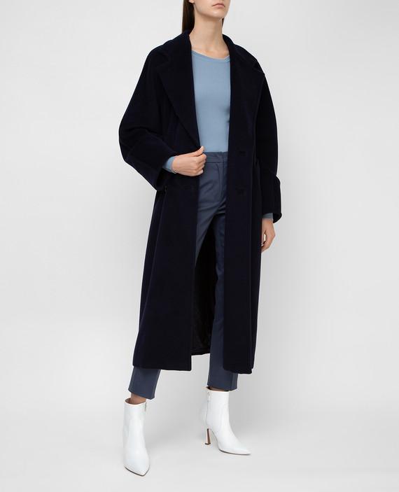 Темно-синее пальто из шерсти и кашемира hover