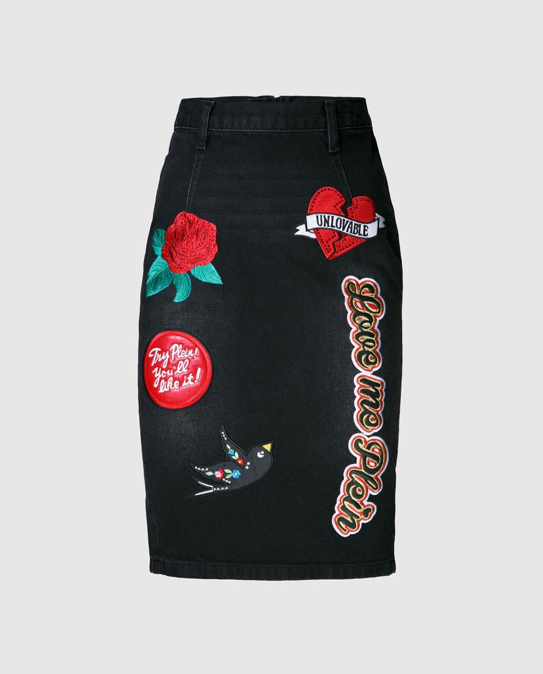 Philipp Plein Черная юбка с вышивкой изображение 2