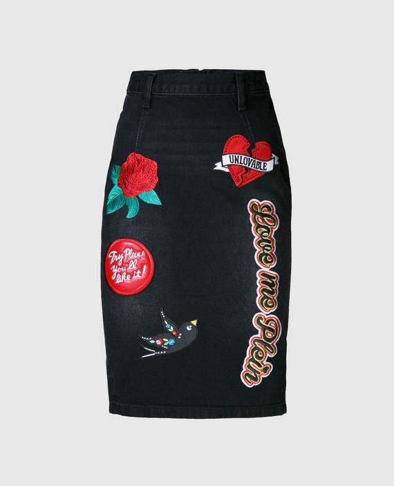 Черная юбка с вышивкой hover