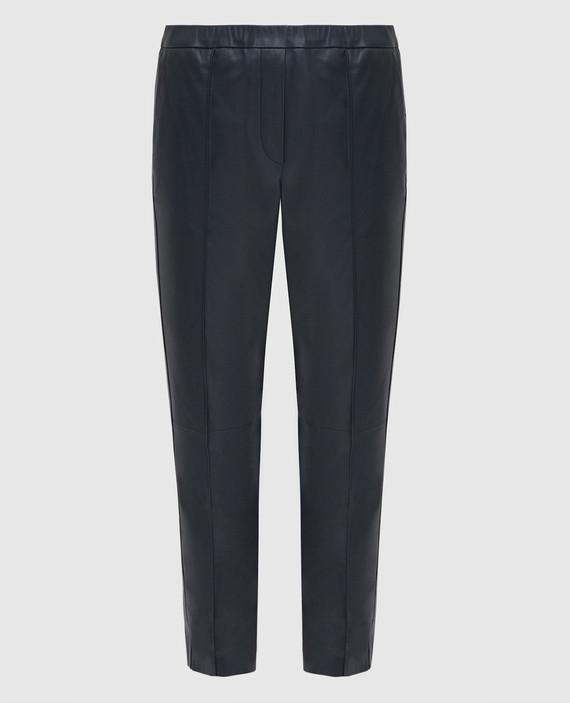 Темно-синие кожаные брюки