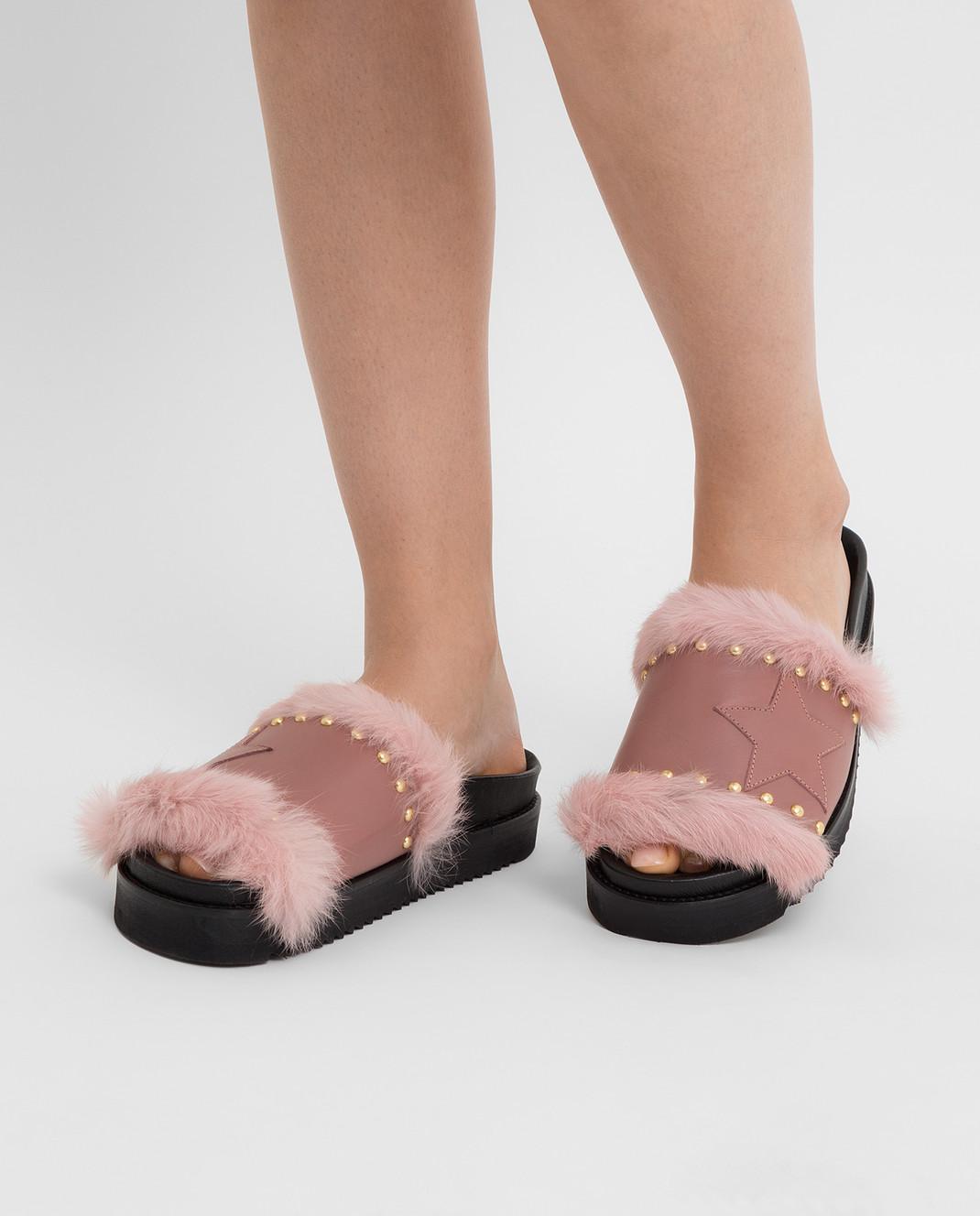 Pinko Розовые слайдеры с мехом 1P20S8 изображение 2