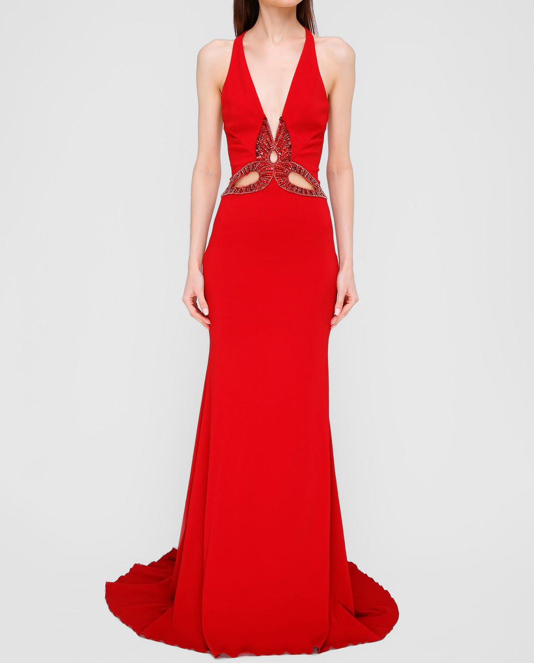Roberto Cavalli Красное платье со шлейфом XPR184 изображение 3
