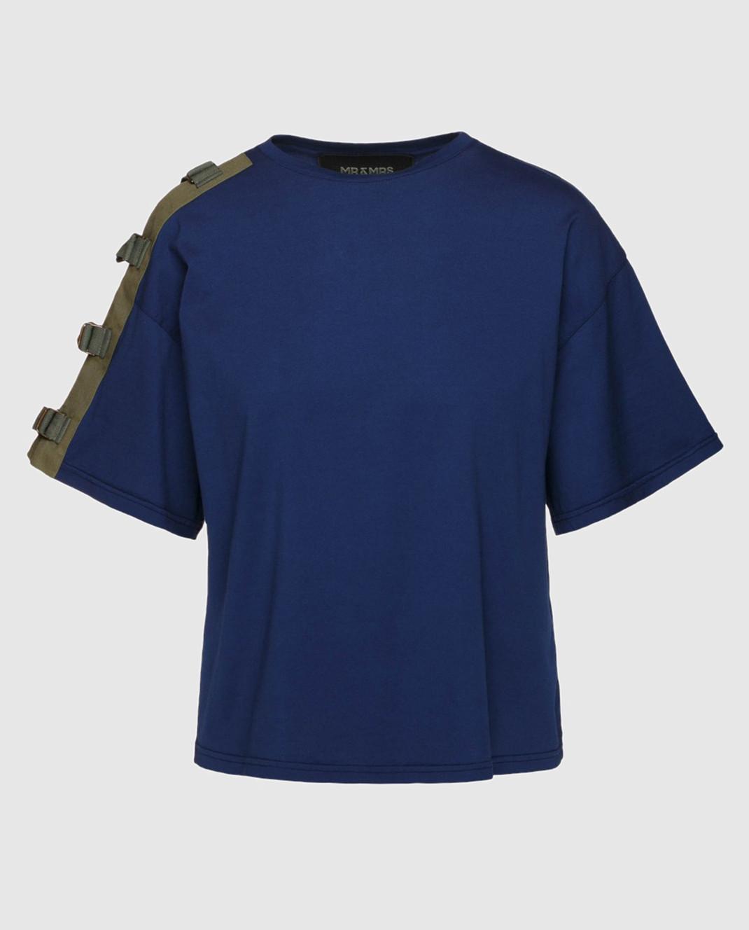 Mr&Mrs Italy Темно-синяя футболка с вышивкой на спине изображение 1