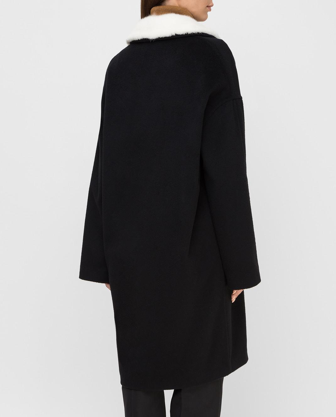 Via Cappella Черное пальто из кашемира с мехом норки C1017CASHMEREBLCOLLARM изображение 4