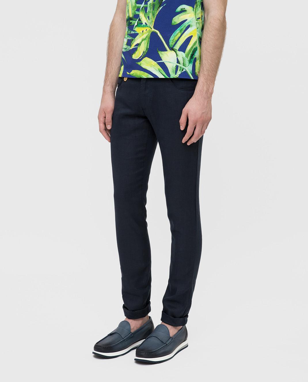 Billionaire Темно-синие брюки из льна MRT0546 изображение 3