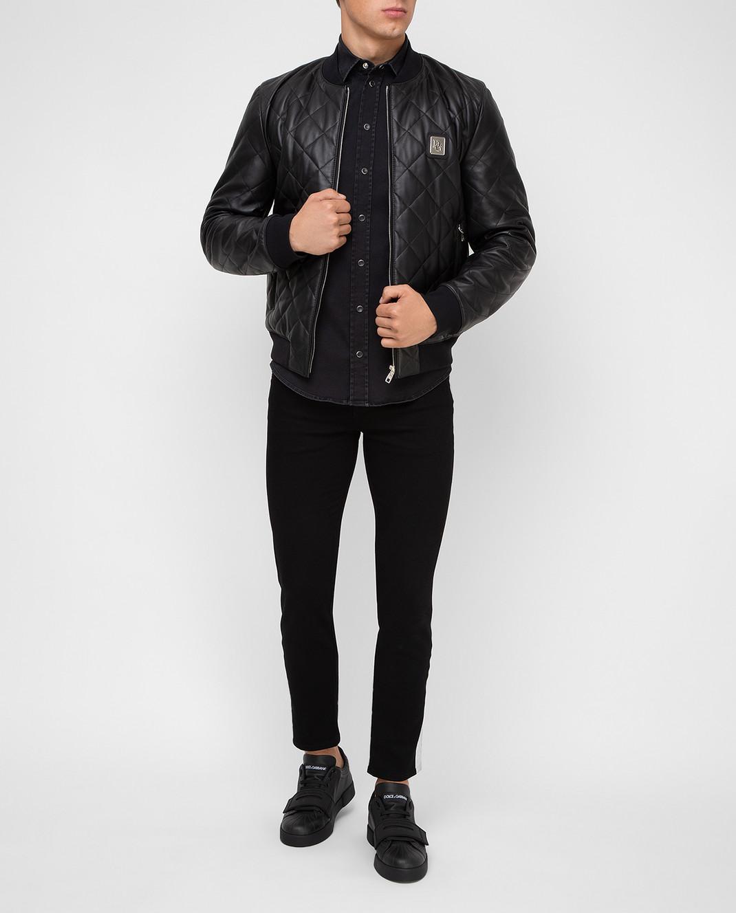 Dolce&Gabbana Черный кожаный бомбер изображение 2