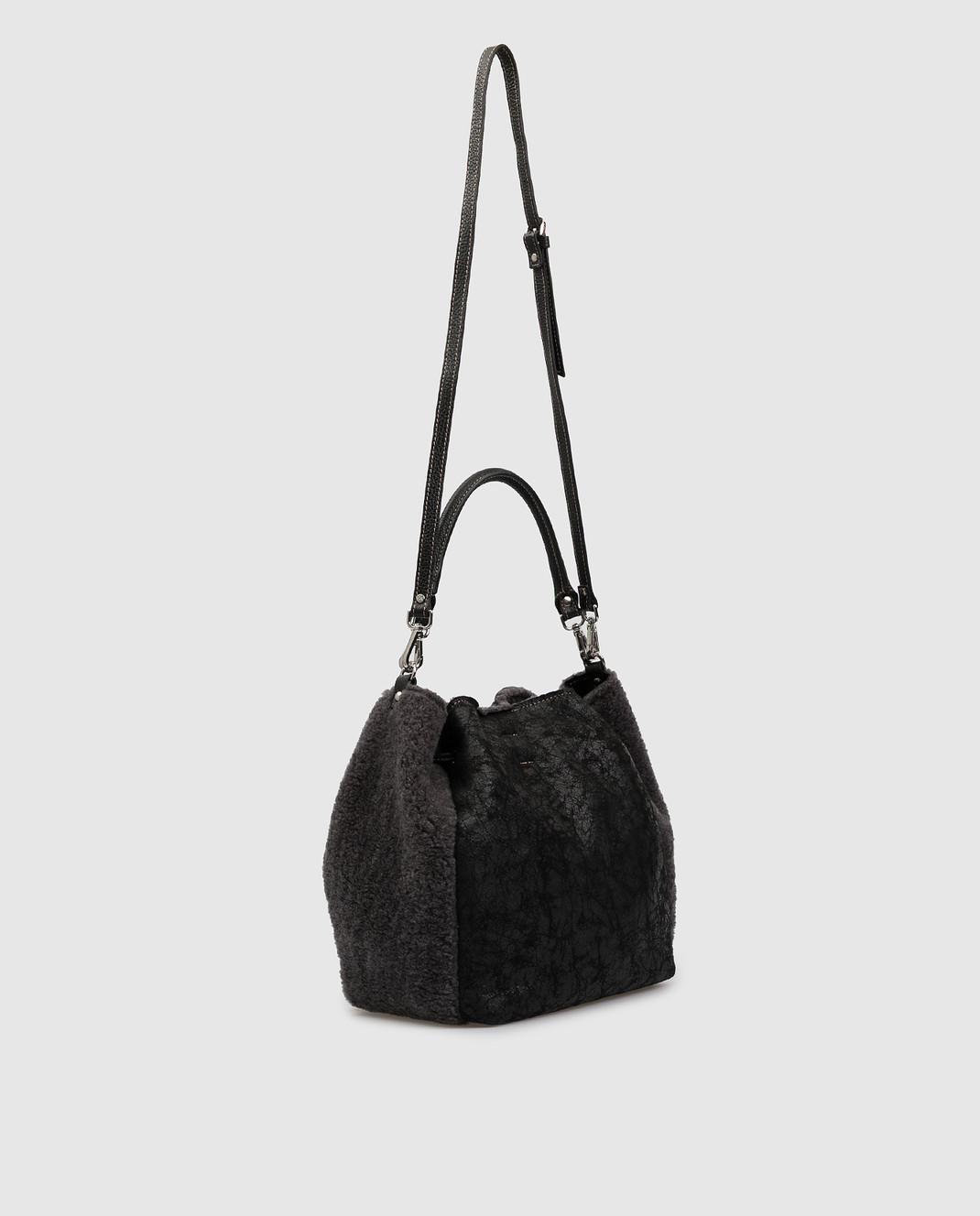 Gianni Notaro Черная сумка из кожи и меха изображение 3