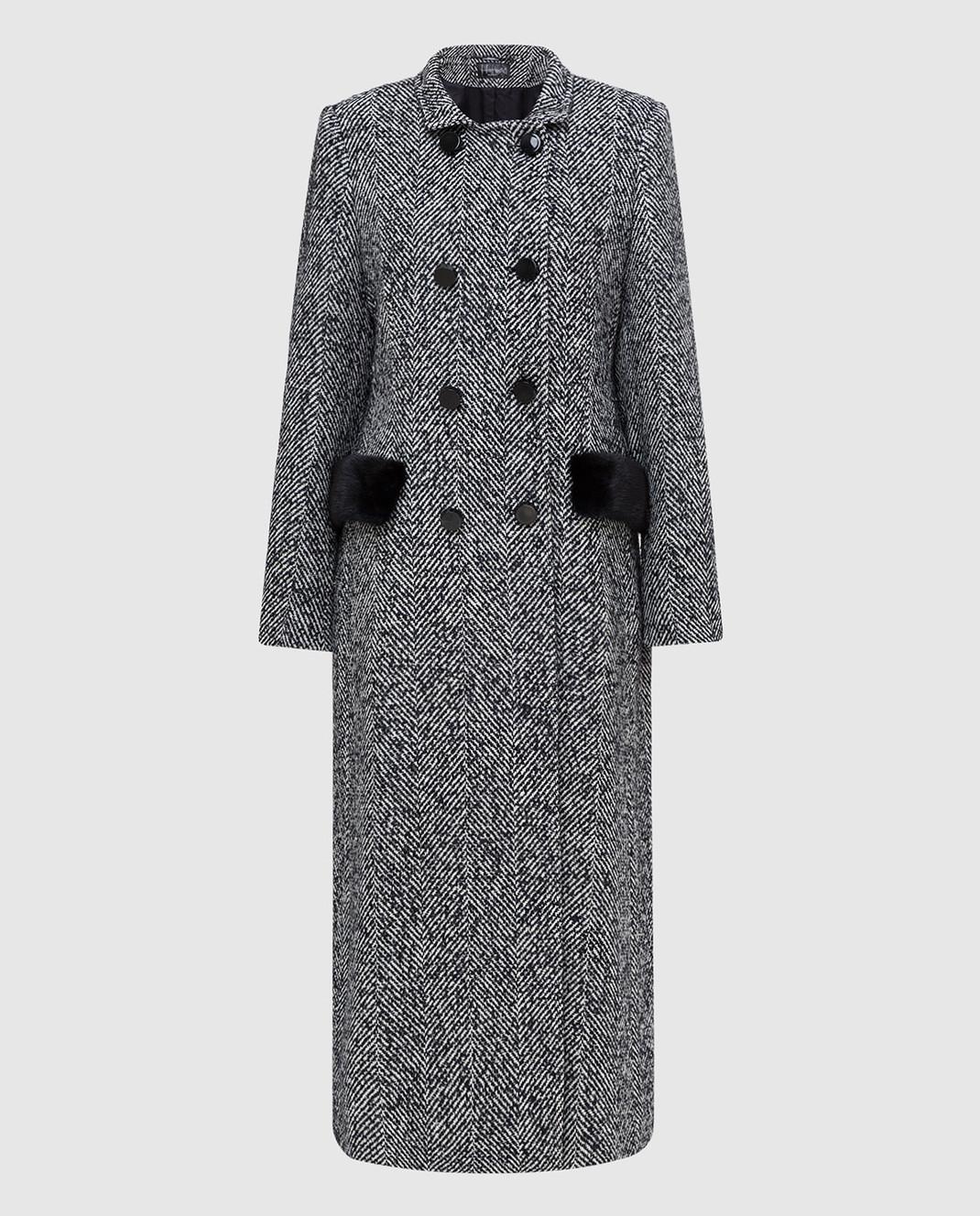 Heresis Темно-синее пальто с мехом норки C07130SLIMPVI
