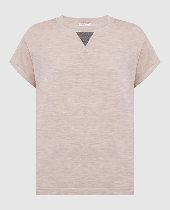 Бежевая футболка из шерсти и кашемира