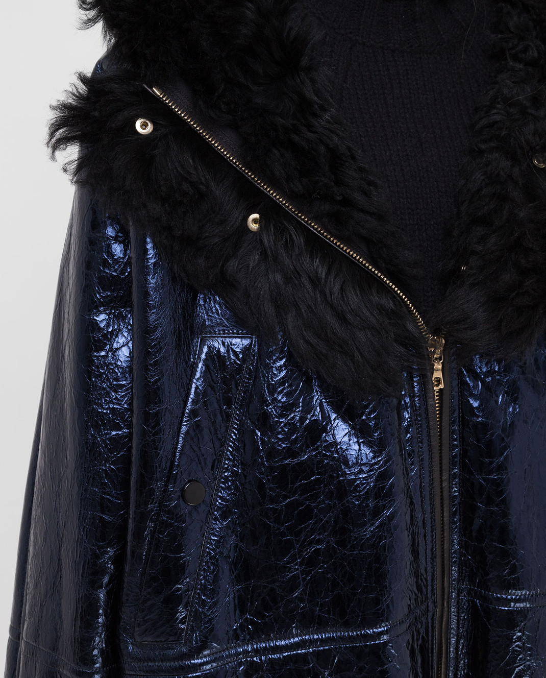 Yves Salomon Синяя дубленка 20WYM61695MERM изображение 5