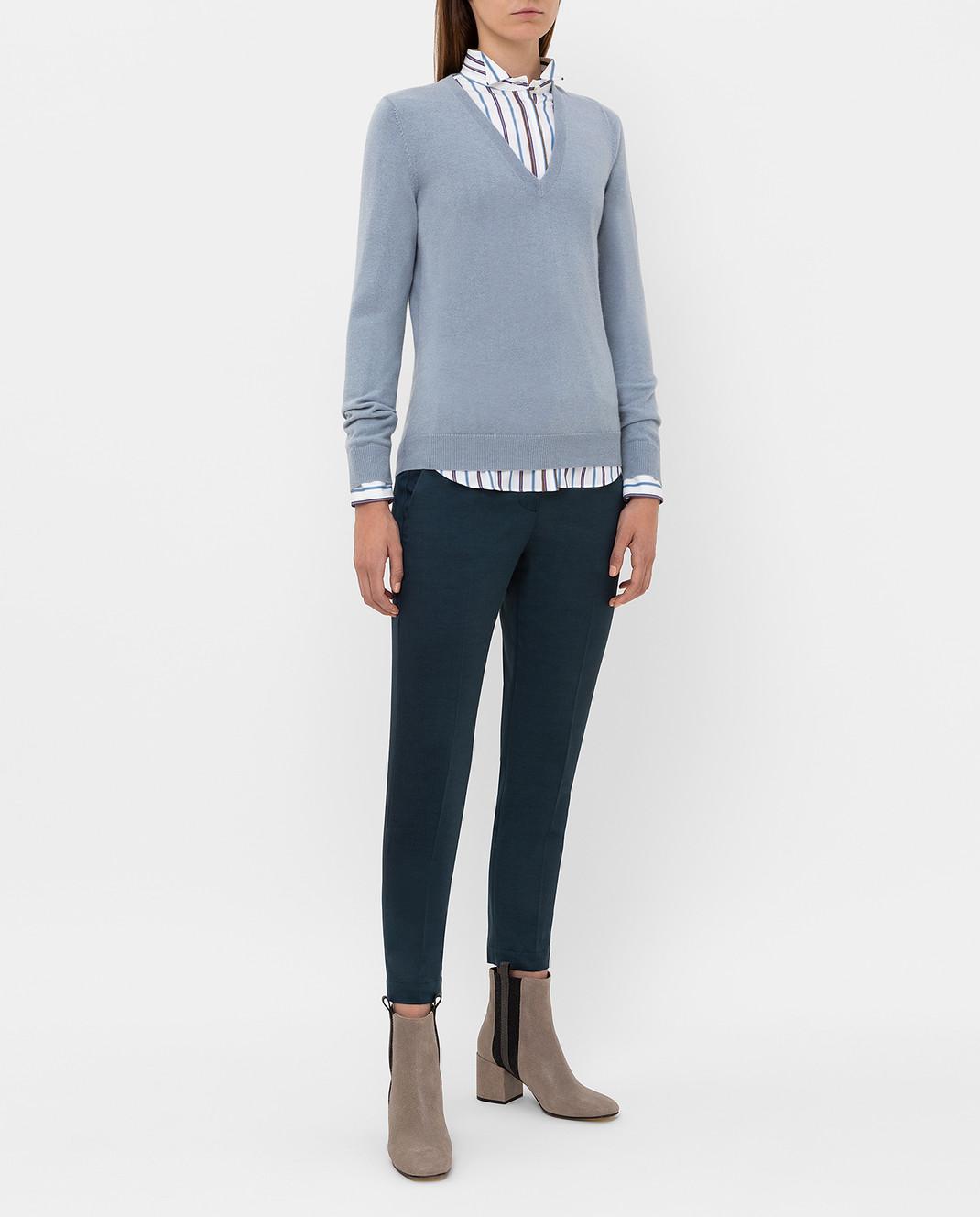 Brunello Cucinelli Темно-бирюзовые брюки изображение 2