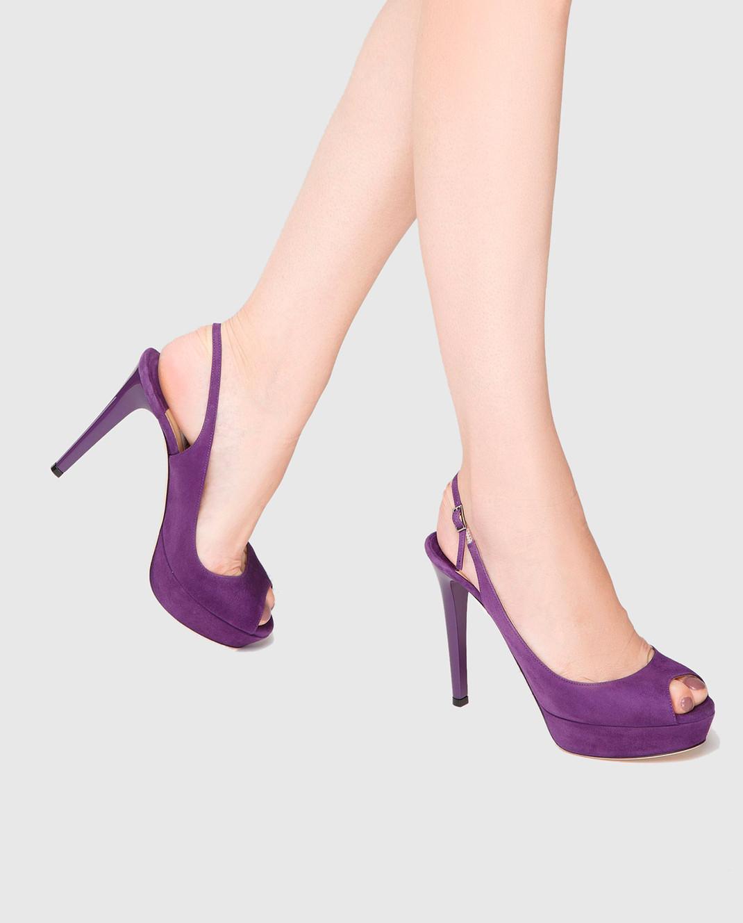 Jimmy Choo Фиолетовые замшевые босоножки VERITY115SUE изображение 2
