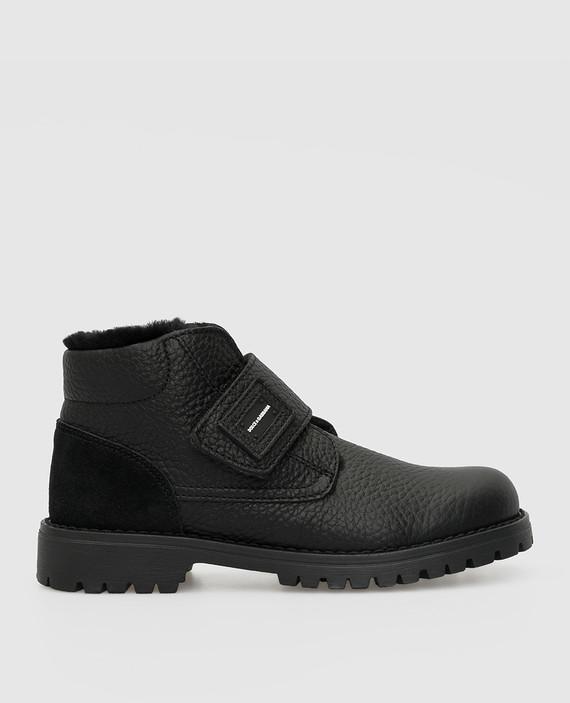 Детские черные кожаные ботинки на меху