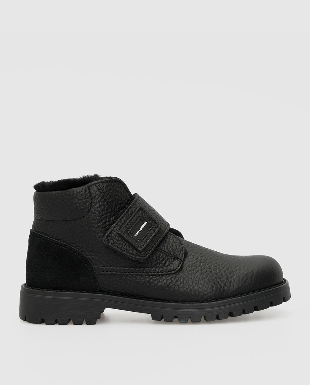 Dolce&Gabbana Детские черные кожаные ботинки на меху изображение 1
