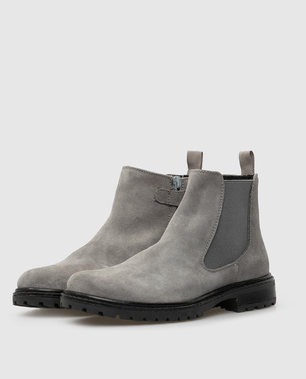 Zecchino D'oro Детские серые замшевые ботинки F0242003032 изображение 2