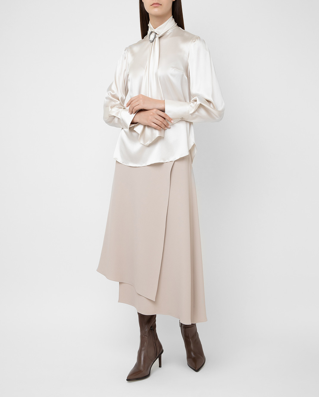 Brunello Cucinelli Светло-бежевая юбка изображение 2